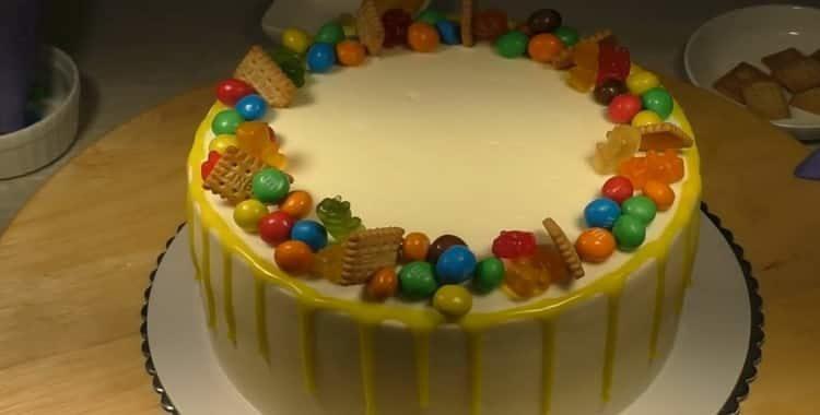 Детский торт «С днем рождения» без мастики 