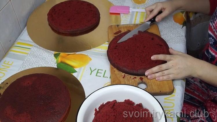 Для приготовления торта разделите корж