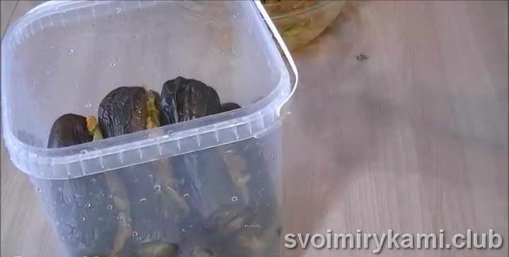 утрамбовываем баклажаны в посудине