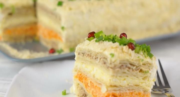 Необычайно вкусный слоеный 🥝 салат «Наполеон»