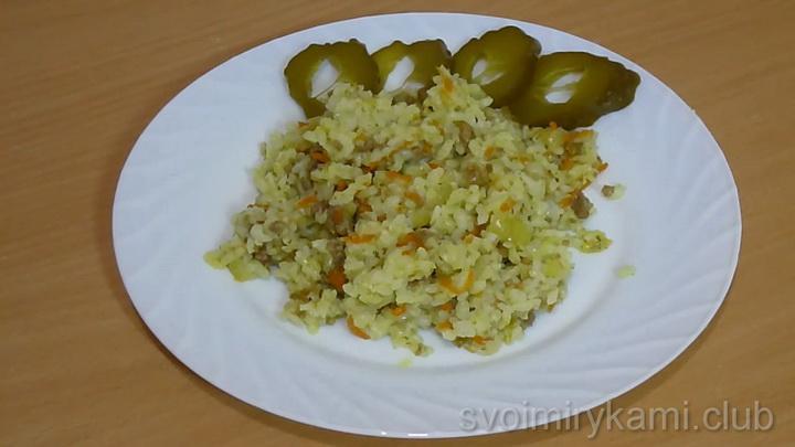Рис с фаршем по простому пошаговому рецепту с фото